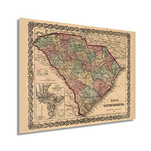 Historix Vintage 1865 Map of South Carolina - 24x32 Inch South Carolina Vintage Map Wall Art - Old South Carolina Map Showing Cities Towns Roads Railroads Rivers and Forts - SC Map Print (2 Sizes)