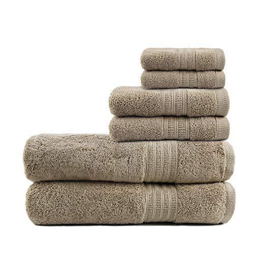 TRIDENT Toallas de baño Grandes y Suaves, 100% algodón, Toallas de Aire enriquecido, Juego de 6 Piezas: 2 Toallas de baño, 2 Toallas de Mano, 2 toallitas, tecnología patentada Air Rich, (Arena)