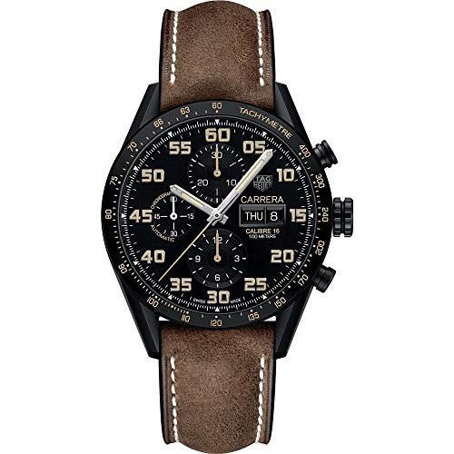 TAG Heuer Carrera Herren-Armbanduhr 43mm Armband Leder Automatik CV2A84.FC6394
