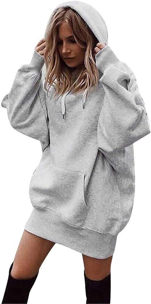 Womens Long Sleeve Loose Casual Drawstring Hoodie Bat Sleeve Hooded Pocket Pullover Hoodie Dress Tunic Sweatshirt Top