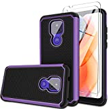 Heavy Duty Phone Case for Motorola Moto G Play 6.5' 2021 with [2 Pack]Tempered Glass Screen Protector, Dual Layer Armor Defender Rugged Protective Phone Cover, Soft TPU Bumper Shockproof Cases, Purple