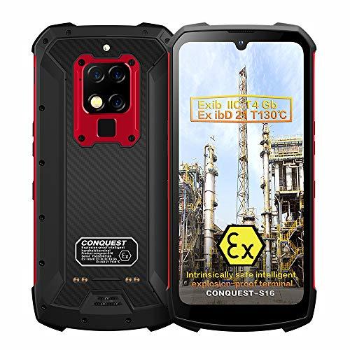 Smartphone Resistente, ATEX Zone 1/2 Intrínsecamente Seguro IP68 a Prueba de explosiones 4G de Doble Tarjeta 48MP Cámara Triple AI 8 + 256GB Teléfono móvil Desbloqueado (Rojo, 128GB)