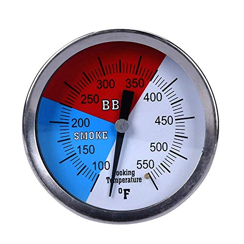"GasSaf 3"" Charcoal Grill Pit Smoker Temp Gauge Grill Thermometer Gauge with Fahrenheit and Heat Indicator, Larger Face with 3"" Stainless Steel Stem, Easy to Read Temperature(100-550F)(2-Pack)"