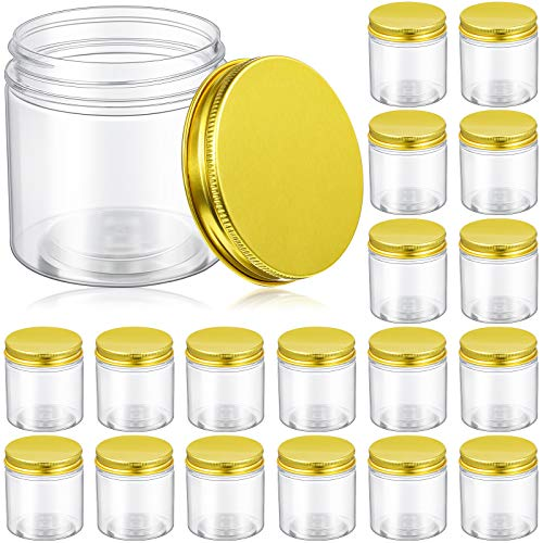 18 Pieces 5 Oz Plastic Jars with Lids Clear Jar With Lids Clear Storage Containers Refillable Cosmetic Jars Kitchen Storage Jars with Lids for Cosmetics Food Storage Seasonings Gold