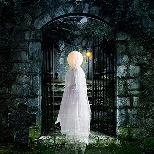 LJM Brujas Luminosas de Visita de Halloween con estacas Decoraciones de Halloween al Aire Libre Brujas iluminadas Control de Voz Cabeza resplandeciente Impermeable Tamaño Real para decoración de