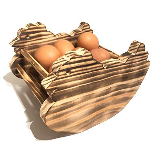 Huevera Rústica de Madera de Pino- Porta Huevos para Cocina - Artesanal y Hecho a Mano Con Forma de Gallina (Madera Quemada)