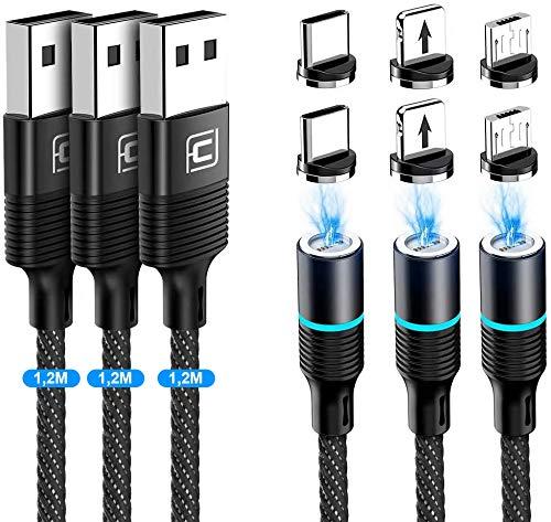 CAFELE 3 in 1 Magnet Ladekabel[3 Stück/1,2 M],3A Schnellladung Datentransfer Ladekabel Magnetisch,Nylon Magnetisches USB Kabel für Typ C/Micro USB/1Phone/Huawei/Honor/Samsung Galaxy/Xiaomi/Sony