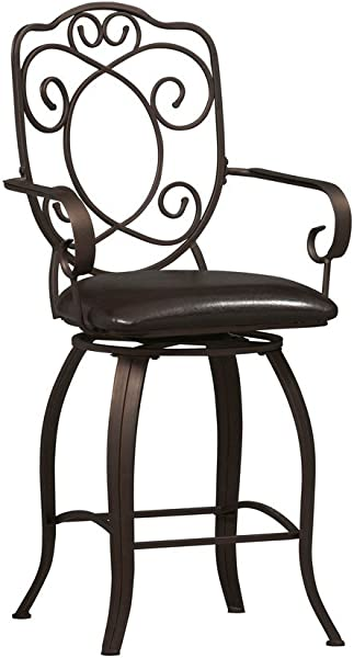 Linon Crested Back 24 In Counter Stool