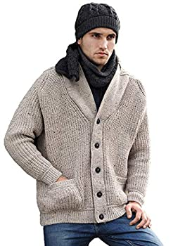 Aran Crafts Men s Irish Cable Knitted Wool Ribbed Shawl Cardigan  SH4627-SM-OAT  Oatmeal