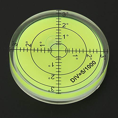 Inclinómetros de plástico ABS de color verde con burbujas de nivel de ojo de buey redondo con estampado de marca de 2,4 pulgadas con escala para plataforma de cámara de escala