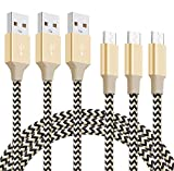 Ulinek Cable USB Carga Rápida [3 Pack 2M], Cable Micro USB De Nylon Cable USB Micro USB Compatible con Android Smartphone, Samsung Galaxy, Huawei P9/P10/P20/P30, Xiaomi, LG, HTC, Dorado