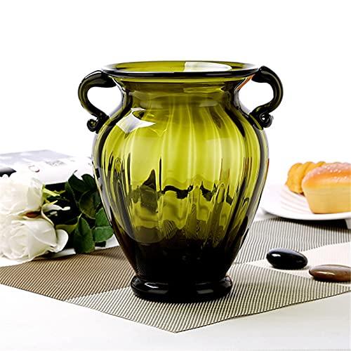 RZHIXR European Style Binaural Color Glass Vase, Housewarming Party Gift, Flower Arrangement Flower Plant Bud Pot Container, Living Room Dining Table Office Flower Arrangement Decoration