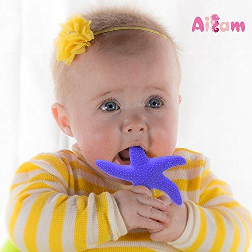 Ailams 赤ちゃん 食品グレード の シリコーン 歯がため 臼歯 おもちゃ ヒトデ(ブルー)