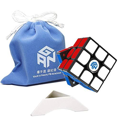 Gobus Ganspuzzle GAN356 X S GAN 356XS Dual Numérico IPG Magic Cube 3x3 GAN 356 X S Magic Cube Puzzle GAN 356 XS con Bolsa de Cubo y trípode de Cubo (Negro)