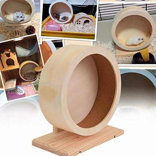 NEWCOMDIGI Silent Runner 6''/8'', Wooden Exercise Wheel for Hamsters, Gerbils, Mice and Other Small Pets (M)