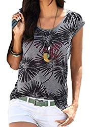 Summer T-shirt: short sleeve and round neck, perfect for this summer. Soft and stretchy thin material with opaque, very comfortable to wear. Occasion: Great loose top, Wears very comfortably.This T-shirt is perfect for everyday life, work, sport, vac...