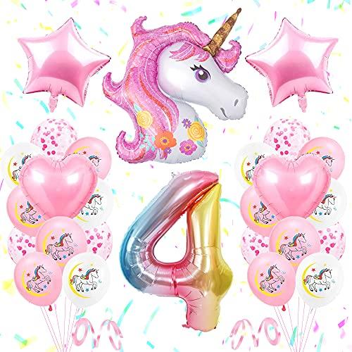 SPECOOL Unicornio Decoración de Cumpleaños 4 Años, Globo de Unicornio 3D con Pancarta de Cumpleaños Numero 4 Cumpleaños Globos Latex Globos para Decoracion de Fiesta de Cumpleaños Niña