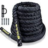Affenlaskan Battle Ropes with Anchor Kit, Full Body Workout Equipment for Crossfit Training Home Gym & Fitness Exercises Rope (30FT)