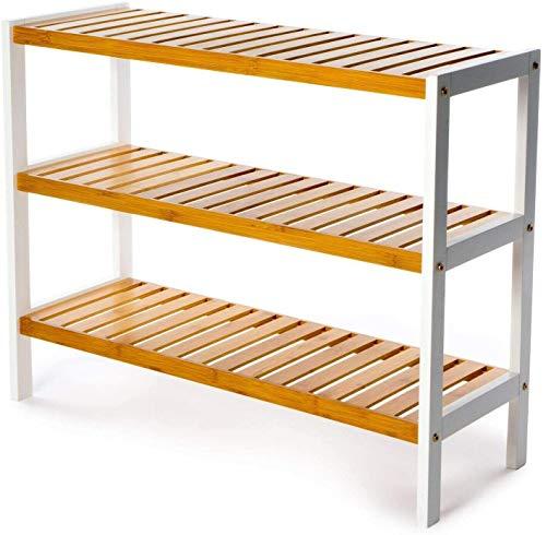 Vencier 3 Tier Bamboo Shoe Racks Storage Stand Shelf Organizer, 12 Pair of Shoes 70 x 26 x 55cms - Ideal of Corridor,Living Room, Bathroom, Bedroom or Hallway (Natural & White)