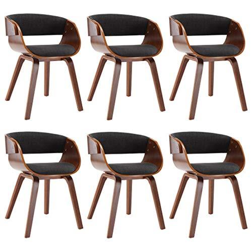 vidaXL 6X Sillas de Comedor Estructura de Madera y Tela Decoración Mobiliario Casa Cocina Salón Salita Sofás Sillones Muebles Estilo Diseño Gris