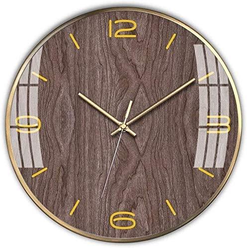 Reloj de Pared para niños con Mecanismo silencioso de Cuarzo de Barrido Que no Hace tictac - Fácil de Leer y Aprender a Decir la Hora - Campana de Grano de Madera de 35 cm / 14 Pulgadas de d