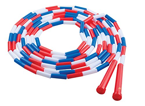 Champion Sports Segmented Jump Rope for Fitness, 16 Feet Length, White, Blue, and Red - Classic Beaded Jump Ropes for Physical Education, Gym Glass, Personal Use - Premium Skipping Rope for Kids, Adults