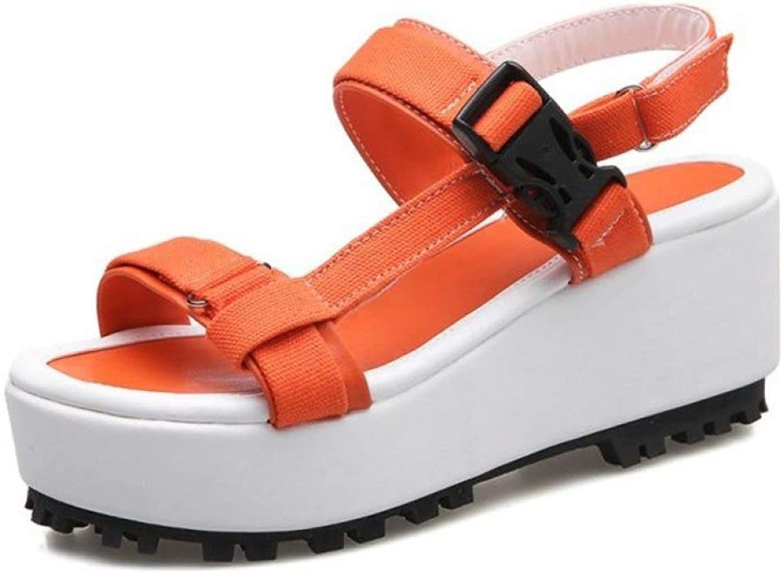 T-JULY Women Casual Chunky Heels shoes Women Summer Buckle Vacation Platform Footwear Canvas Sandals