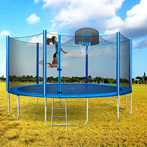 Merax 15 FT Trampoline with Safety Enclosure Net, Basketball Hoop and Ladder – 2020 Upgraded – Kids Basketball Trampoline (Blue)