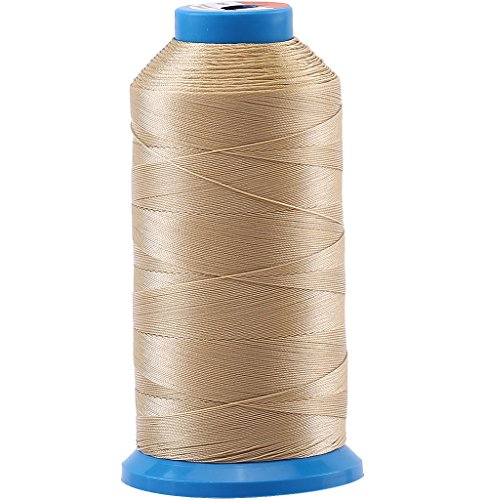 Selric [1500 Yards/Coated/No Unravel /21 Colors Available] Heavy Duty Bonded Nylon Threads #69 T70 Size 210D/3 for Upholstery, Leather, Vinyl, and Other Heavy Fabric (Khaki)