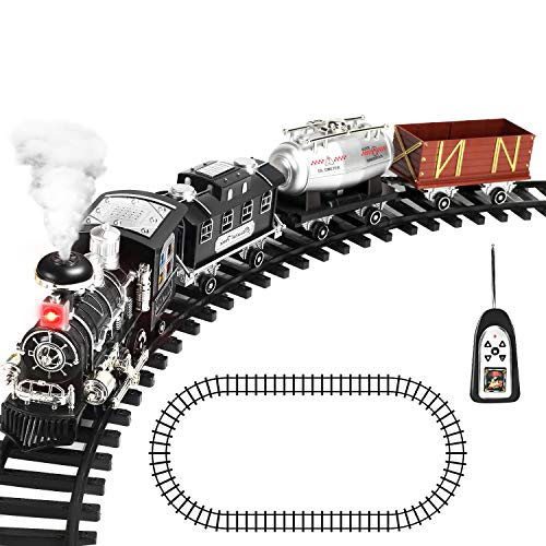 CUTE STONE Remote Control Train Set with Smoke, Sound and Light, RC Train Toy Under Christmas Tree, Gifts for 2 3 4 5 + Year Old Boys and Girls
