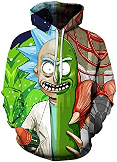 Anime Rick and Morty Men's Long Sleeve Hoodie Trend Casual Loose Comfort Tops-L