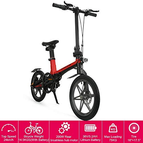 "16"" New Foldable Electric Mountain Bike 200W with Removable 36V 5.2AH Lithium-Ion Battery Beach Snow Bicycle Ebike"