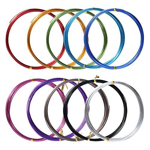 10 Rollos de Alambre de Aluminio para Manualidades, Colores Variados, 1 mm...
