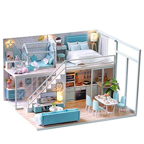 Miniatur-DIY Haus mit LED-Licht, zwei Etagen Kit Puppenhaus Kreative Holz Modell Miniatur Blaues Haus mit Musik-Bewegung, Doppelbett (Color : Without dust cover)