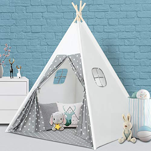 wilwolfer Kids Teepee Play Tent for Child with Carry Case + Mat with Stars + Two Windows, Portable Children Toys or Gift for Kids Boys Girls Indoor and Outdoor Play, ASTM Certified (Tipi with Stars)