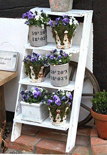 Bloementrap bloemenrek decolladder bloementrap plantentrap hout volledig gemonteerd wit