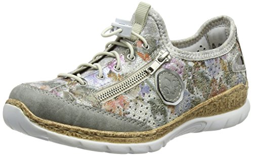 Rieker Damen N42V1 Low-top, Mehrfarbig (CEMENT/weiss-multi/Argento/silverflower), 39 EU