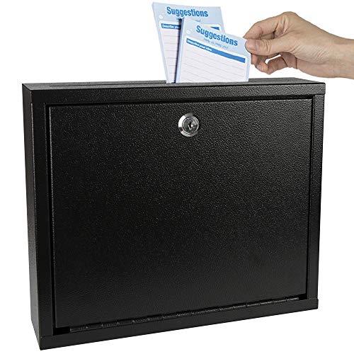 Kyodoled Suggestion Box with Lock Wall Mounted,Mail Box, Key Drop Box Cards, Safe Lock Box,Ballot Box,Donation Box,3W x 10H x 12L Inch Black
