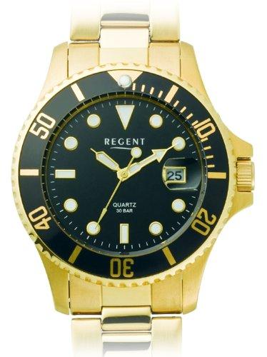Regent 11140113 - Reloj analógico de caballero de cuarzo con correa de acero inoxidable dorada
