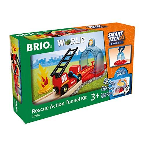 BRIO World 33976 Smart Tech Sound Feuerwehreinsatz - Zubehör für die BRIO Holzeisenbahn - Interaktives Spielzeug empfohlen ab 3 Jahren