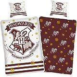 Ropa de cama Harry Potter 135 x 200 cm 80 x 80 funda de almohada Juego de cama reversible de algodón Hogwarts [con cremallera] Öko-Tex Standard 100, tamaño estándar alemán