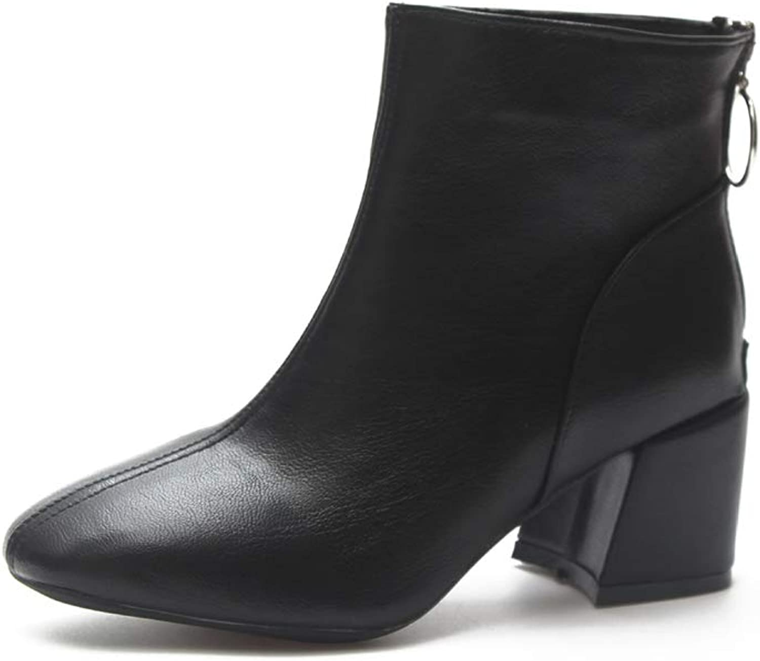 Super frist Women's Thick Heel Boots with Zipper Chelsea Boots Ankle Boots
