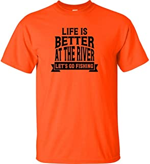 Life Is Better At The River Lets Go Fishing Send Me Black Logo Kids T