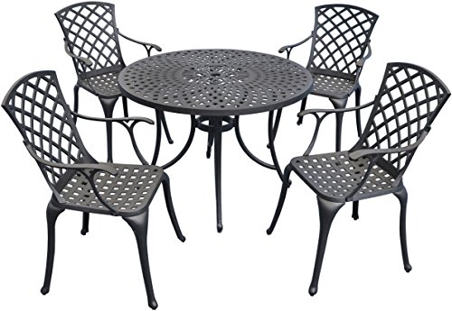 Crosley Furniture Sedona 5-Piece Solid-Cast Aluminum Outdoor Dining Set with 42-inch Table and 4 High-Back Arm Chairs… - Elegantly designed outdoor furniture with intricately woven details Heavy duty cast aluminum construction, perfect for outdoor entertaining Maintenance free and UV resistant charcoal black finish - patio-furniture, dining-sets-patio-funiture, patio - 51Um89a0xuL -