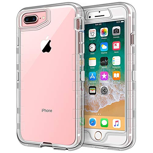Anuck Case for iPhone 8 Plus Case, for iPhone 7 Plus Case 5.5 inch, Crystal Clear 3 in 1 Heavy Duty Defender Shockproof Full-Body Protective Case Hard PC Shell & Soft TPU Bumper Cover - Clear