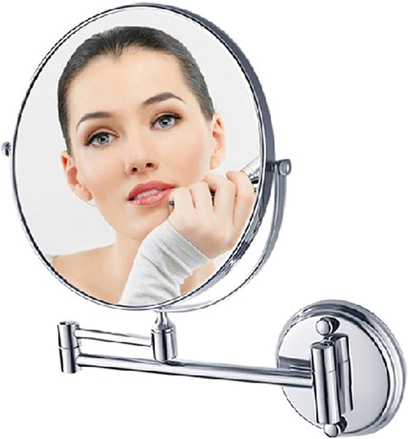 Foldable Telescopic Beauty Mirror Copper bathroom mirror Wall Hanging Round Base redating Telescopic Double Mirror Reverse 3X Magnifying Glass (Size   200mm)