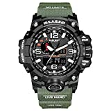 CAOS Mens Digital Sports Watch with LED Screen - Black Face, Green Strap, Dual Time Display - Tactical Military Watches for Men - Perfect for Outdoor Fitness and Gym