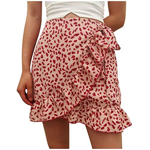 Xinantime Womens Casual High Waist Floral Print Ruffled Beach Zipper Short Skirt Summer Girls Lace Up Hipster Mini Skirt (Pink,Medium)