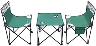 AJH Desk Camping Fishing BBQ Compact Lightweight Portable Folding Table Outdoor Camp Mesh Chair Set Two Chairs Modern Mini...