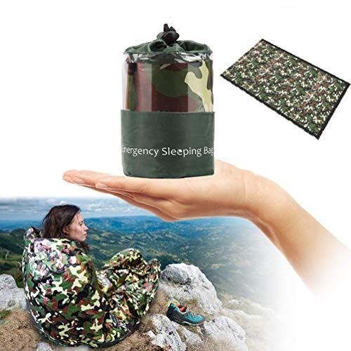 WEEYEE Saco de Dormir portátil de Camuflaje selvático, con función de Aislamiento, Ultraligero e Impermeable, Apto para Deportes al Aire Libre, Ciclismo, Camping (con Silbato Salvavidas)